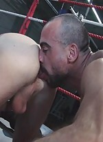 Three jocks in the boxing ring decide blowjobs and