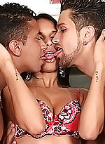 Bi men and a hot brunette feasting on cock